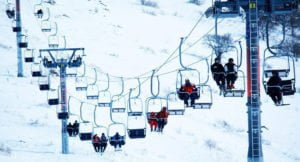 The cable car of Tsaghkadzor in winter